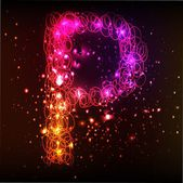 Neon-licht-alphabete. buchstabe p — Stockfoto