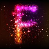 Neon ljus alfabet. bokstaven f — Stockfoto