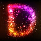 Neon Light Alphabets. Letter D — Stock Photo