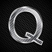 Vektor metalliska teckensnitt på en metall rutnät. bokstaven q — Stockfoto