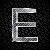 Vector metallic font on a metal grid. Letter E — Stock Photo