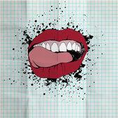 Schets van de lippen en tanden op de school-papier. grunge backgro — Stockfoto