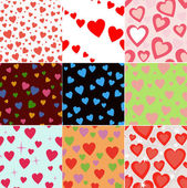 Super set vector seamless pattern with hearts — Stock Photo
