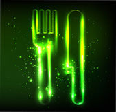 Eco knife and fork neon sign — Stock Photo