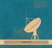 Radar translation. Satellite dishes antena. Retro poster — Stock Photo