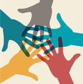 Simbolo della squadra. mani multicolori — Vettoriale Stock