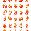 Royalty-Free Stock Vector Image: Fire flames on white background vector, set icons