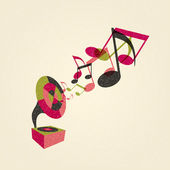 Gramophone met muziek — Stockvector