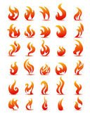 Fire flames on white background vector, set icons — Stock Vector