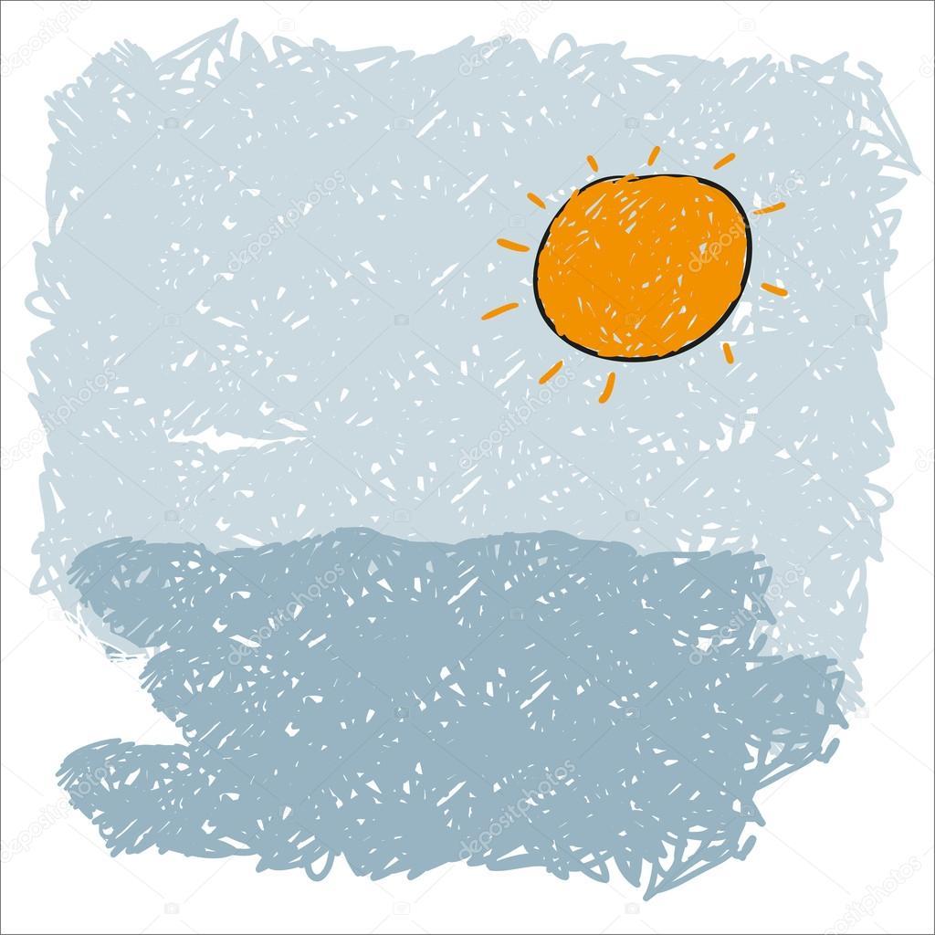 海浪和冉冉升起的太阳 — 矢量图片作者 file404