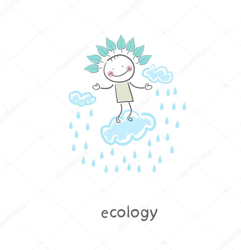雨中的神.图— 矢量图片作者 file404