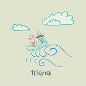 Friends traveling by boat — Stock Vector