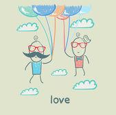 在爱中的几个 — 图库矢量图片