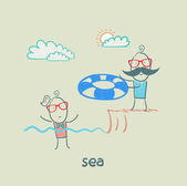 Nuotare nel mare — Vettoriale Stock