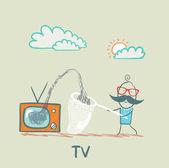 Persone raccogliere informazioni dalla tv — Vettoriale Stock