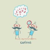 Curious cartoon man with magnifying glass — Stock Vector