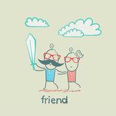 Kreslený přátel — Stock vektor
