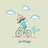 Eco transport. Man rides on bicycle — Stock Vector