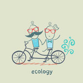 Eco transport. Couple rides on bicycle — Stock Vector