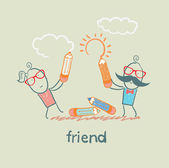 Friends drawing sun and cloud — Stock Vector