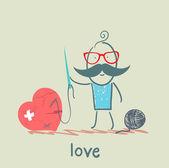 Amor, corazón de los hombres — Vector de stock