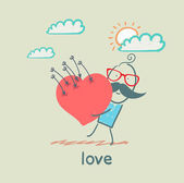 Love, man with heart — Stock Vector