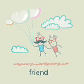 Friends flying on balloons — Stock Vector