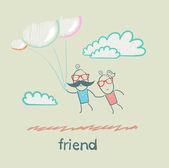 Vrienden vliegen op ballonnen — Stockvector