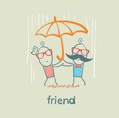 Cartoon friends under umbrella — Stock Vector