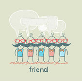 Friends with speech bubbles — Stock Vector