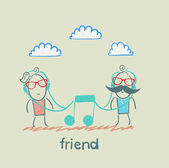Friends listening the same music — Stock Vector