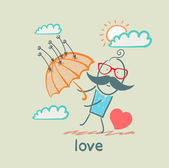 Love, man with umbrella and heart — Stock Vector