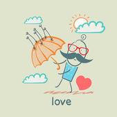 Aşk, şemsiye ve kalp adam — Stok Vektör