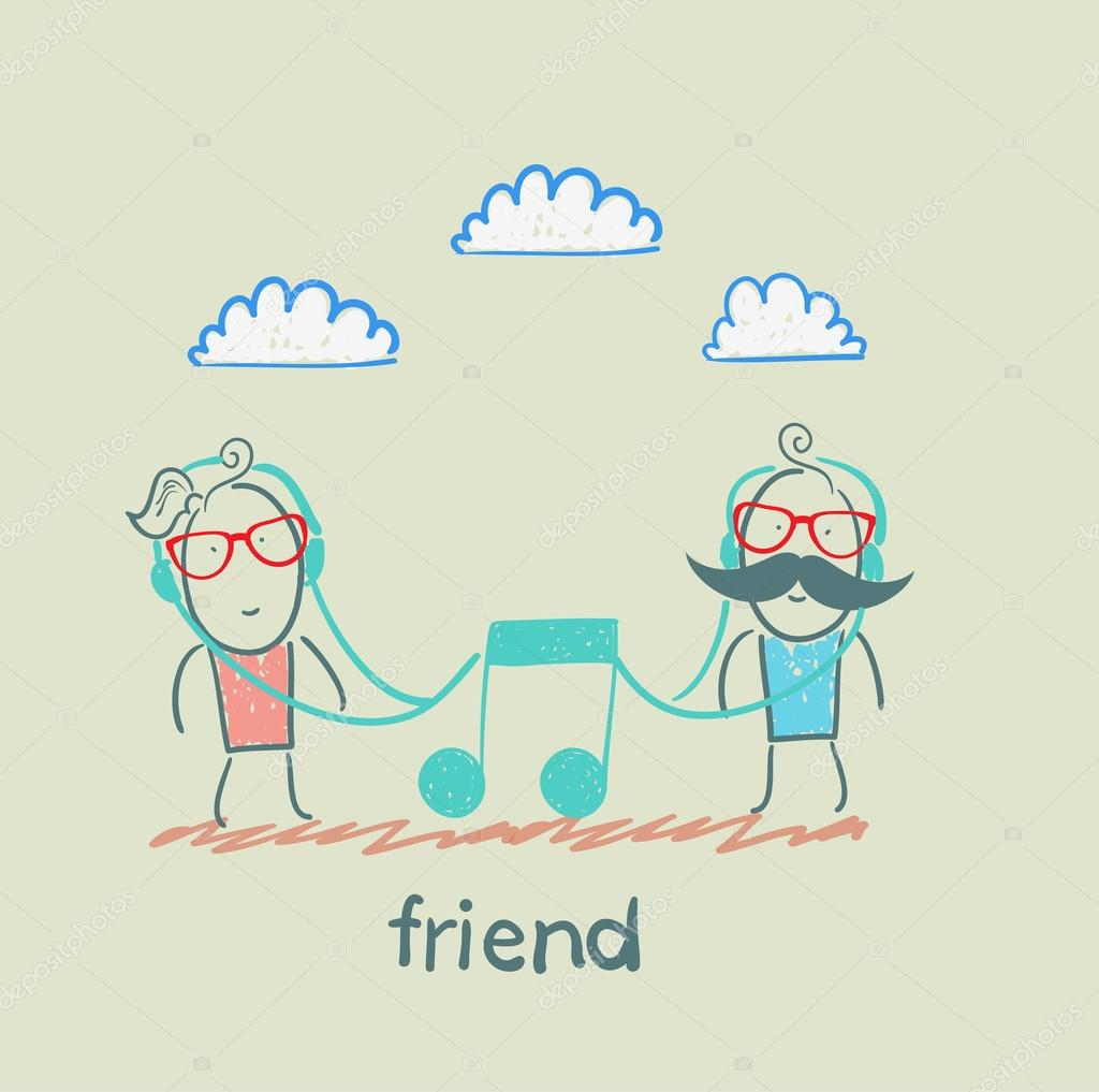Friends listening the same music — Stock Vector © file404 ...