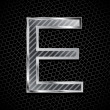 Metallic font on a metal grid. Letter E — Stock Vector