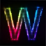 Disco alphabet. Letter W — Stock Vector