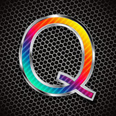 Metallic font on a metal grid. Letter Q — Stock Vector