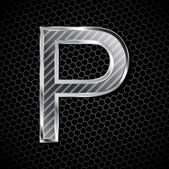 Metallic font on a metal grid. Letter P — Stock Vector