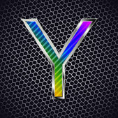 Metallic font on a metal grid. Letter Y — Stock Vector