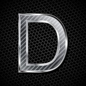 Metallic font on a metal grid. Letter D — Stock Vector