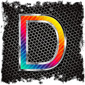 Grunge background and metal letter D — Stock Vector