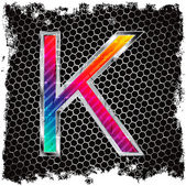 Grunge background and metal letter K — Stock Vector