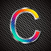 Metallic font on a metal grid. Letter C — Vector de stock
