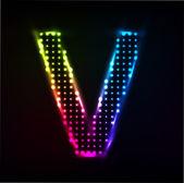 Disco alphabet. Letter V — Stock Vector
