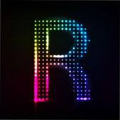 Disco alphabet. Letter R — Stock Vector