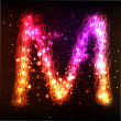 Neon Light Alphabets. Letter M — Stock Vector