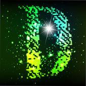 Vector green alphabet. Letter D — Stock Vector