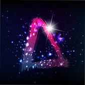 Starscape. neon buchstaben d — Stockvektor