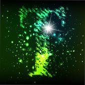 Alfabeto verde vettoriale. lettera t — Vettoriale Stock