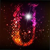 Светящийся неоновый шрифт. Блестящие буквы U — Cтоковый вектор
